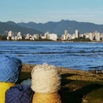vancouver beach log with yarn
